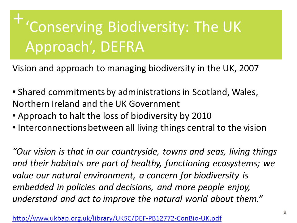 + 'Conserving Biodiversity: The UK Approach', DEFRA