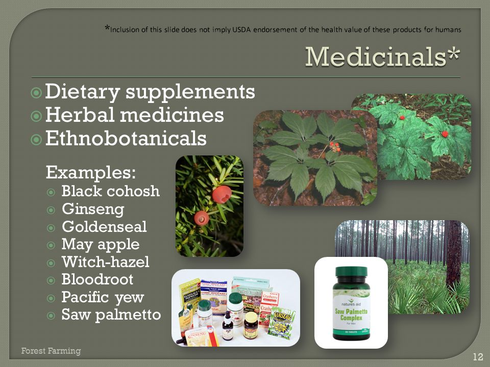 *Inclusion of this slide does not imply USDA endorsement of the health value of these products for humans Medicinals*