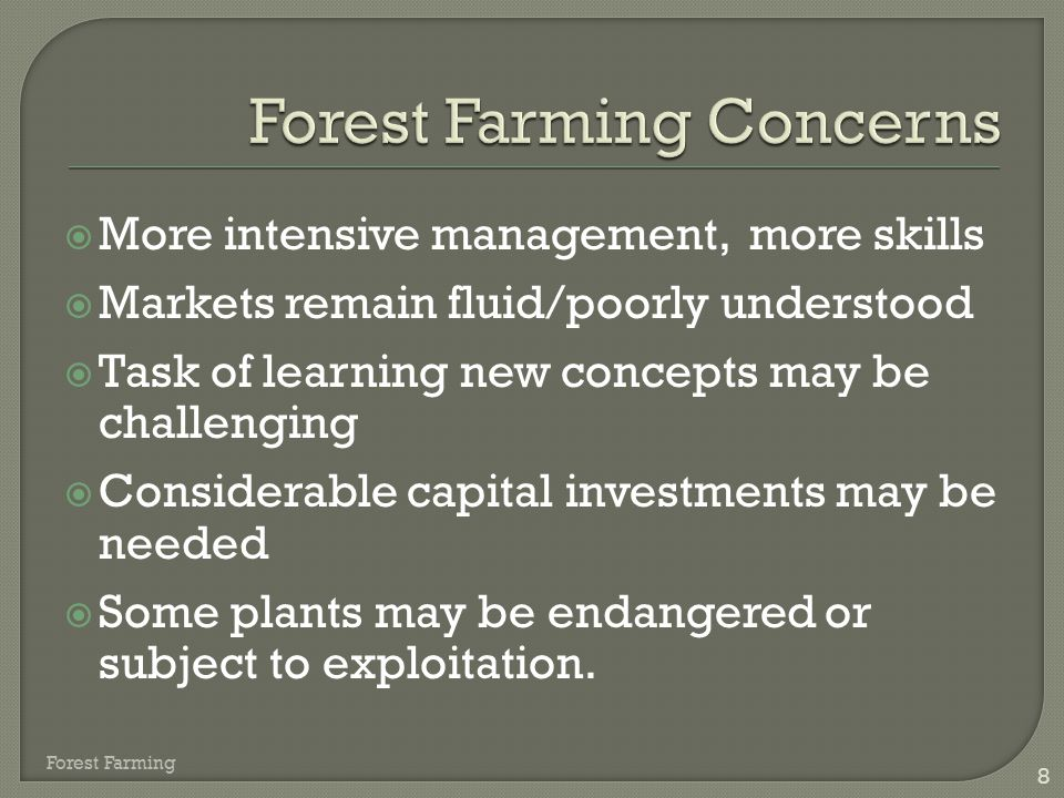 Forest Farming Concerns