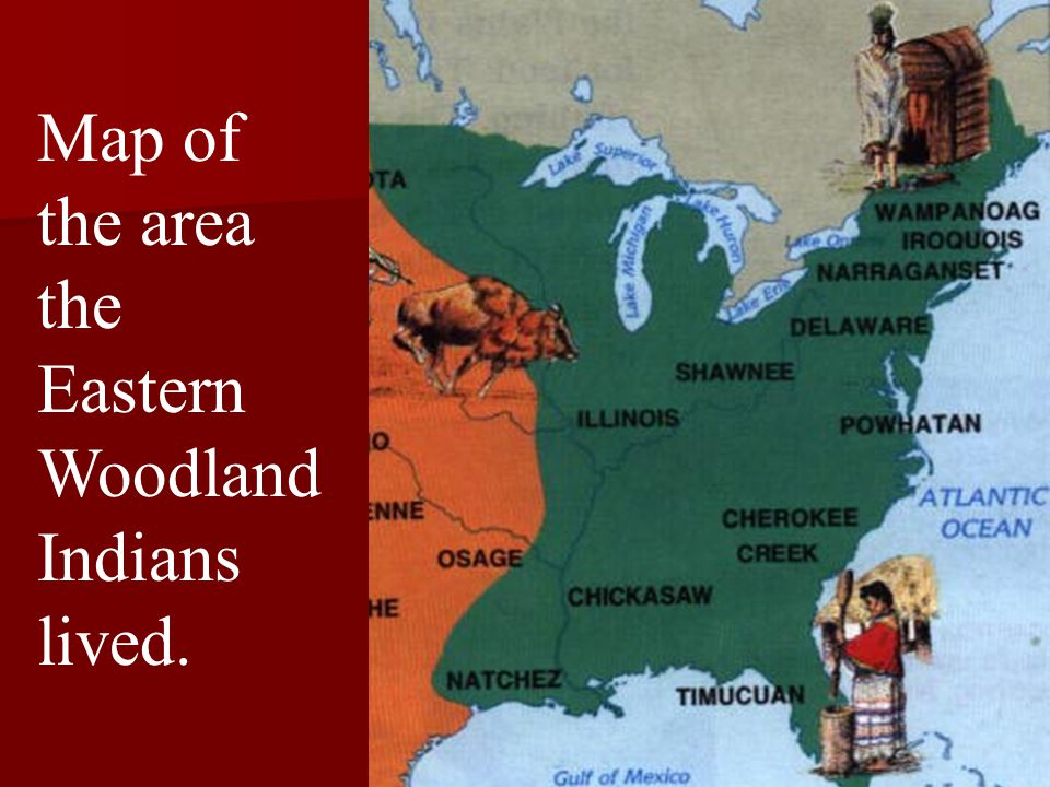 Map of the area the Eastern Woodland Indians lived.
