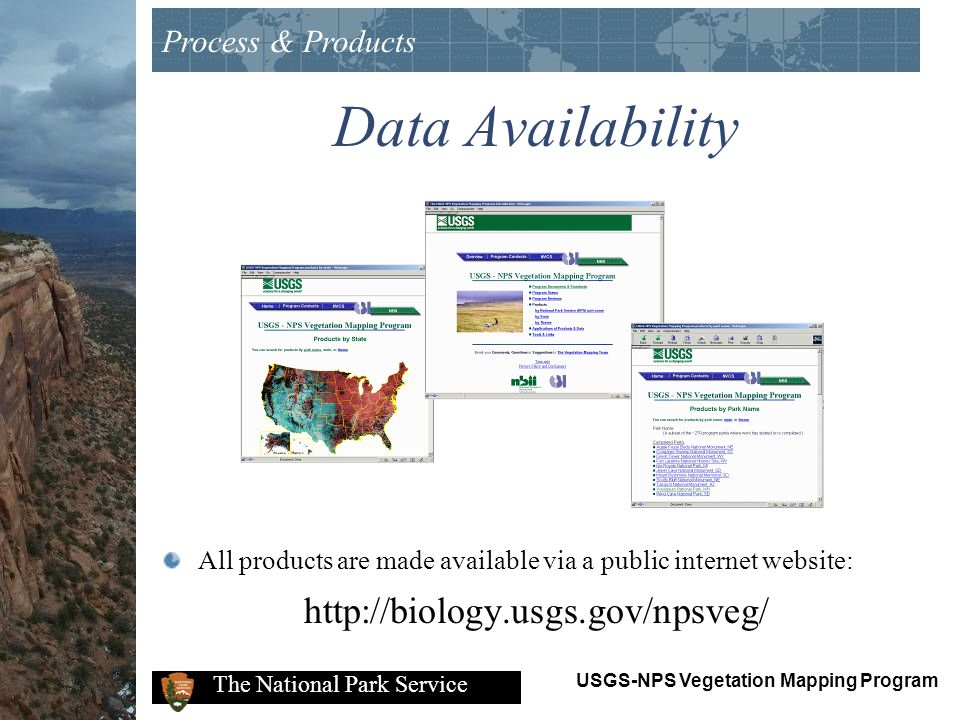 Data Availability http://biology.usgs.gov/npsveg/ Process & Products