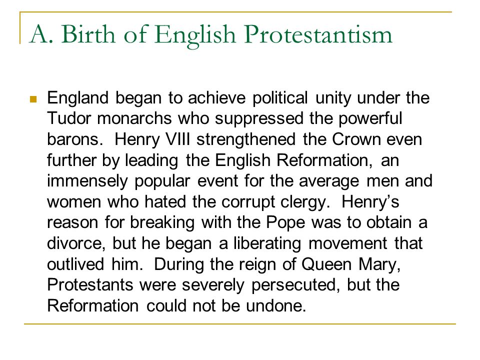 A. Birth of English Protestantism