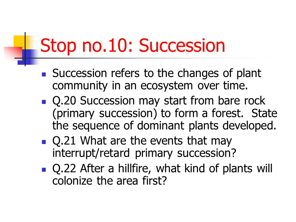 Stop no.10: Succession Succession refers to the changes of plant community in an ecosystem over time.