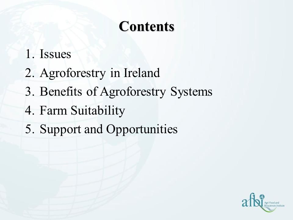 Contents Issues Agroforestry in Ireland