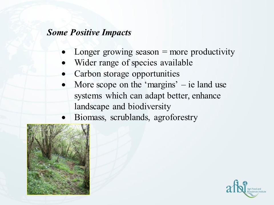 Some Positive Impacts Longer growing season = more productivity. Wider range of species available.