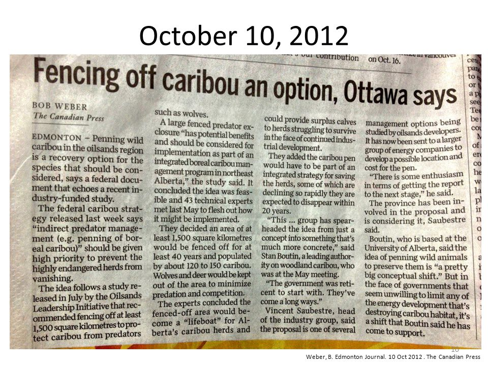 October 10, 2012 Weber, B. Edmonton Journal. 10 Oct 2012 . The Canadian Press