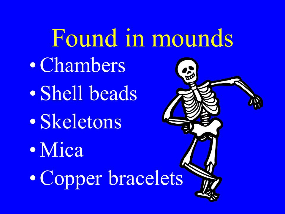 Found in mounds Chambers Shell beads Skeletons Mica Copper bracelets