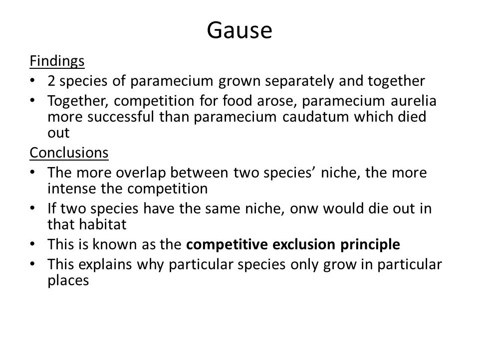 Gause Findings 2 species of paramecium grown separately and together