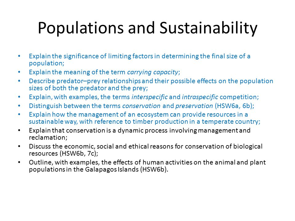 Populations and Sustainability