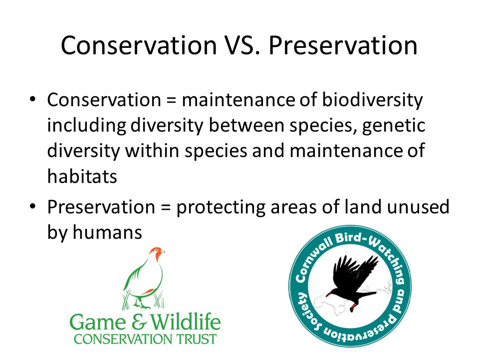 Conservation VS. Preservation