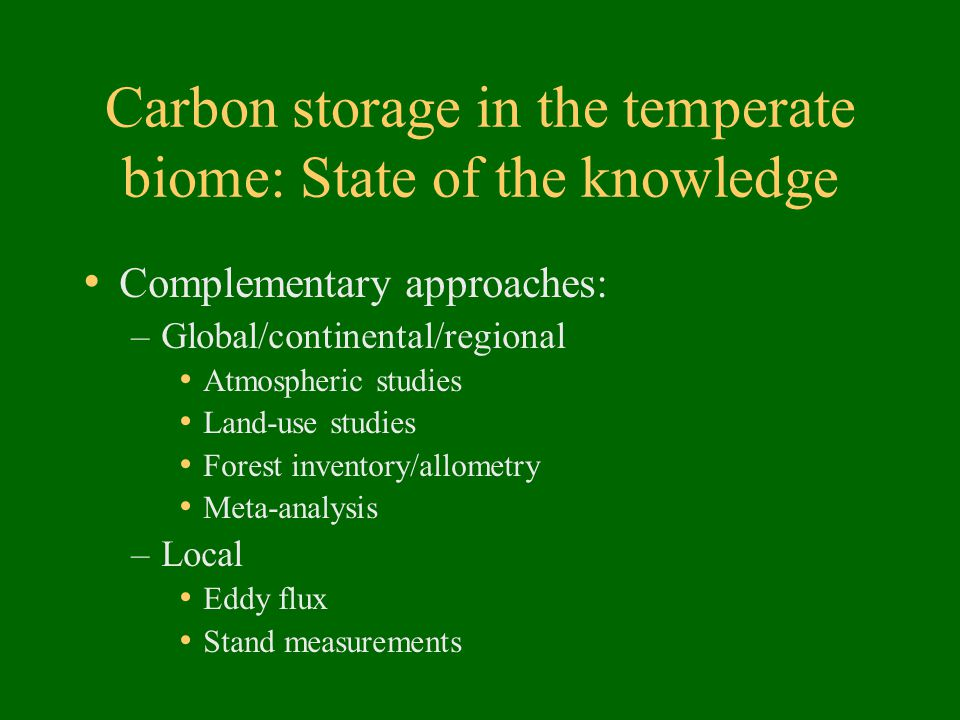 Carbon storage in the temperate biome: State of the knowledge