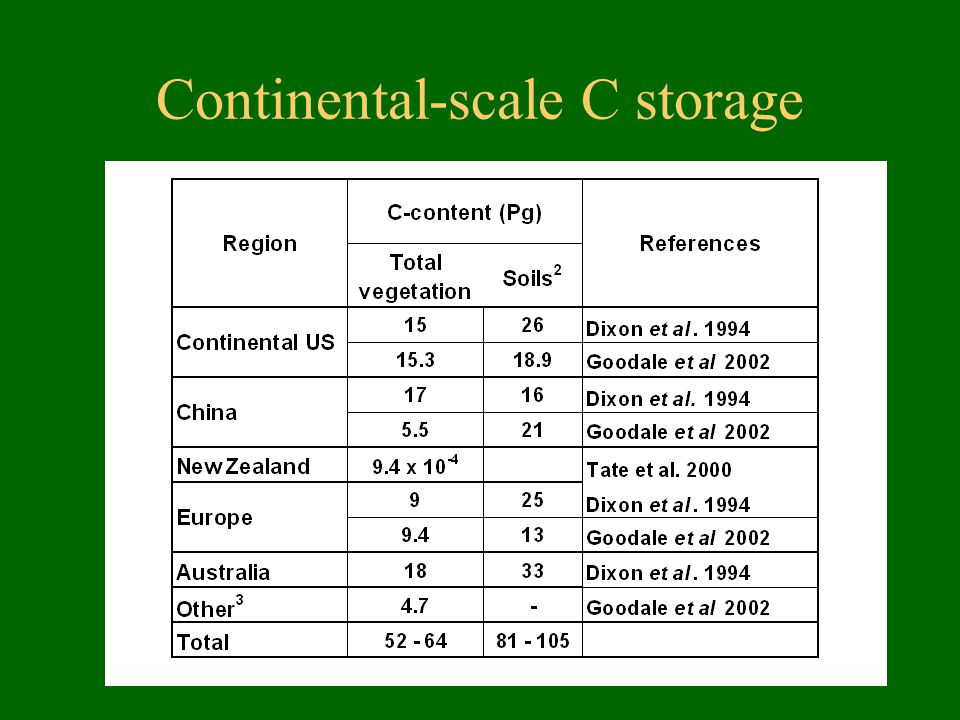 Continental-scale C storage