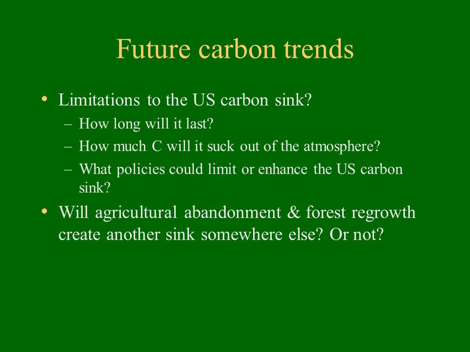 Future carbon trends Limitations to the US carbon sink