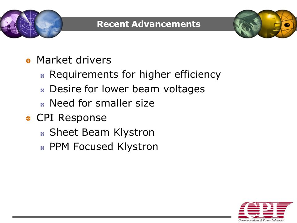 Market drivers CPI Response Requirements for higher efficiency