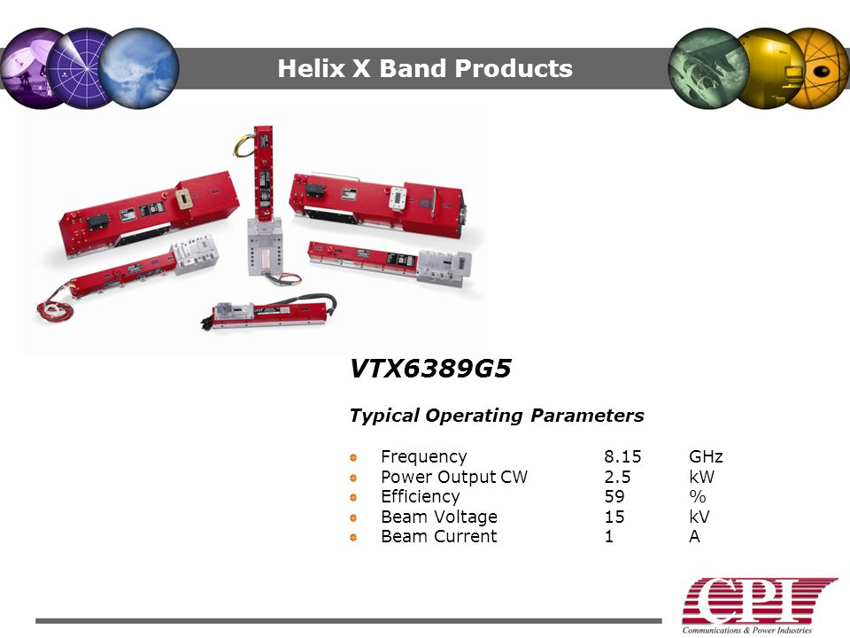 VTX6389G5 Helix X Band Products Typical Operating Parameters