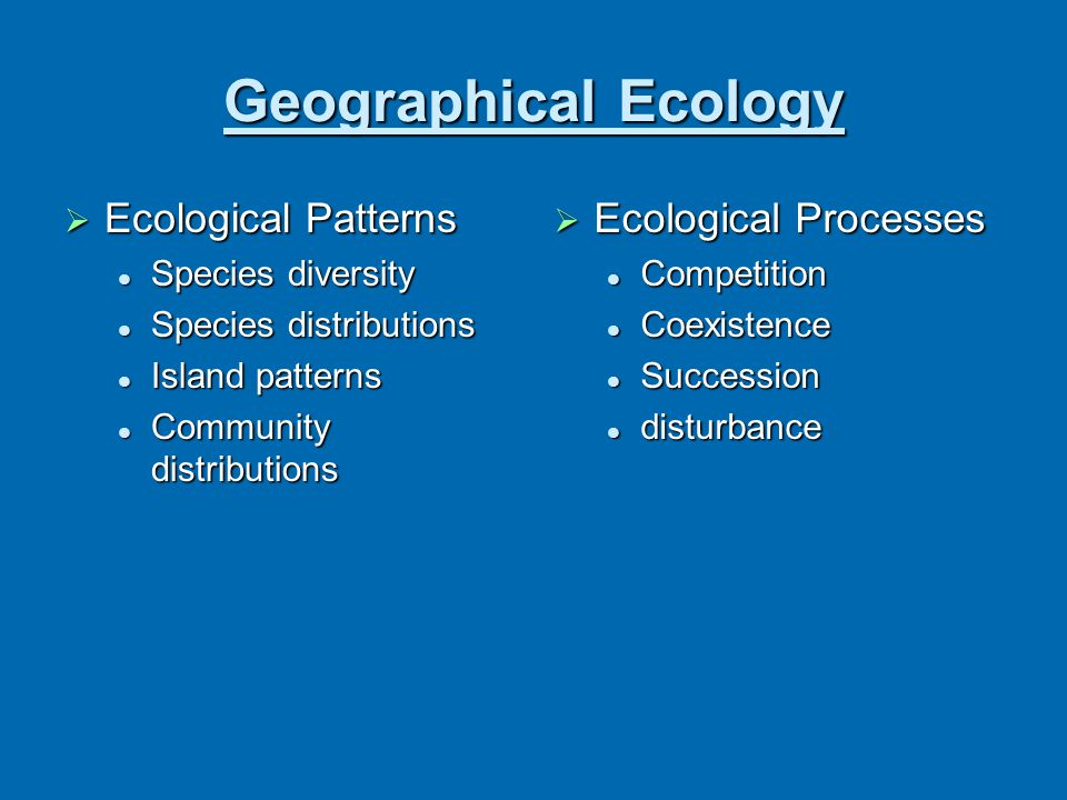 Geographical Ecology Ecological Patterns Ecological Processes