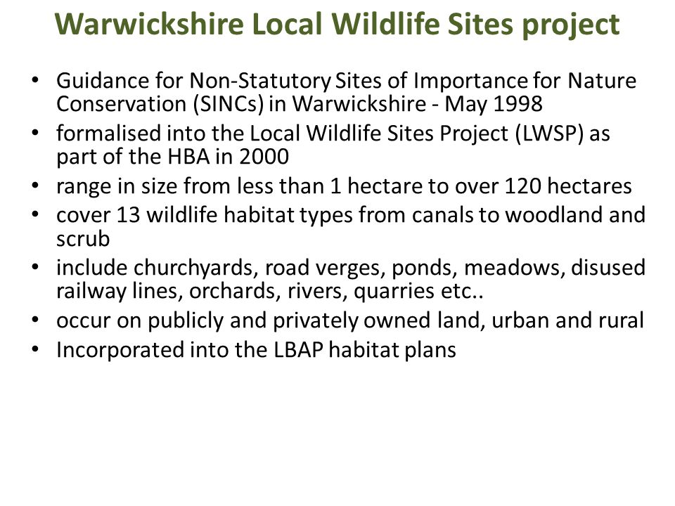 Warwickshire Local Wildlife Sites project