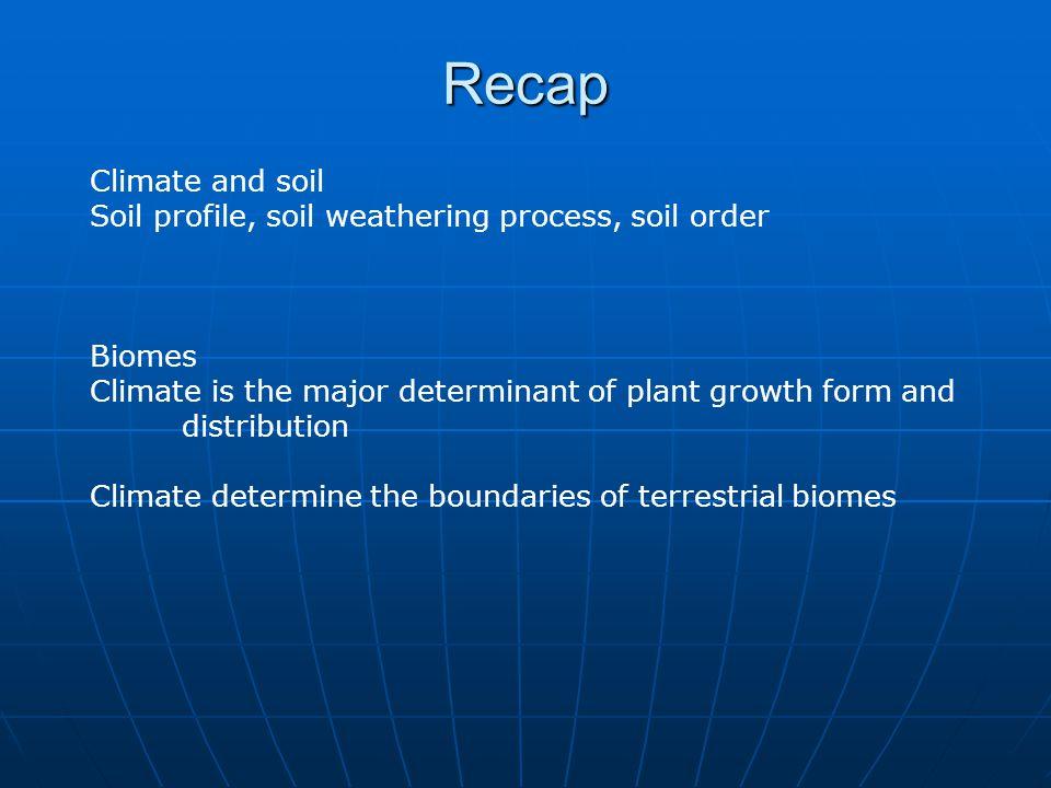 Recap Climate and soil. Soil profile, soil weathering process, soil order. Biomes.