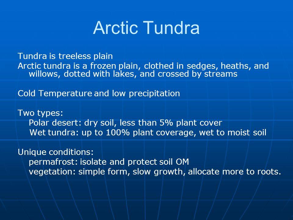 Arctic Tundra Tundra is treeless plain