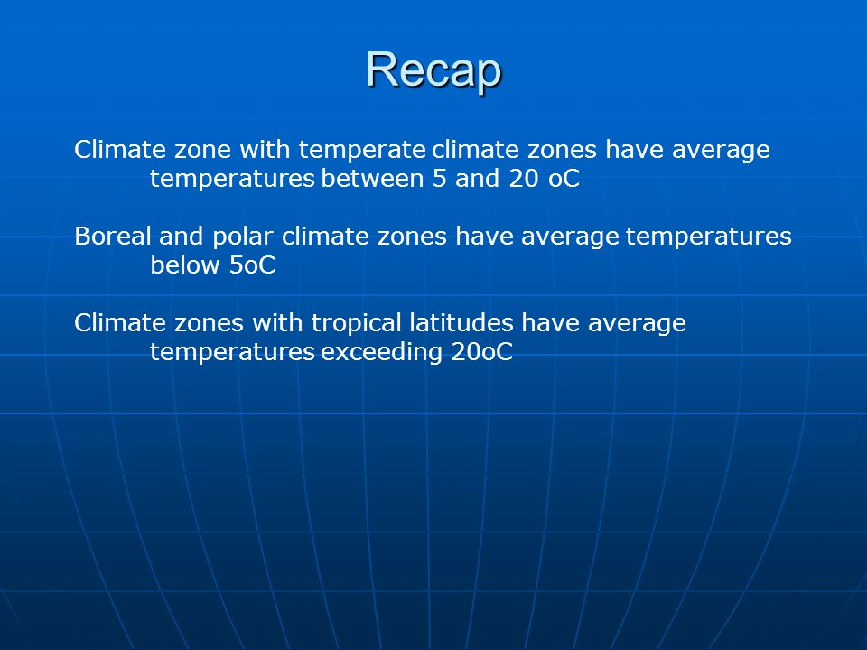 Recap Climate zone with temperate climate zones have average temperatures between 5 and 20 oC.