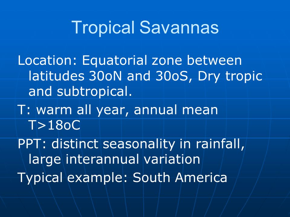 Tropical Savannas Location: Equatorial zone between latitudes 30oN and 30oS, Dry tropic and subtropical.