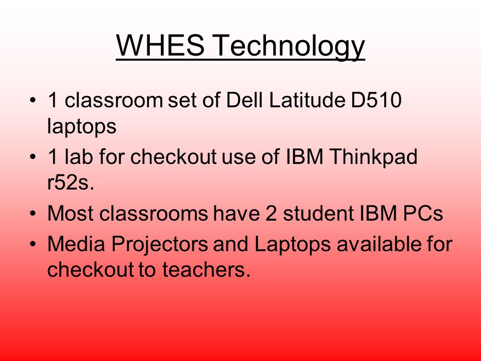 WHES Technology 1 classroom set of Dell Latitude D510 laptops