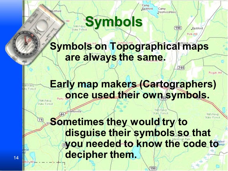 Symbols Symbols on Topographical maps are always the same.
