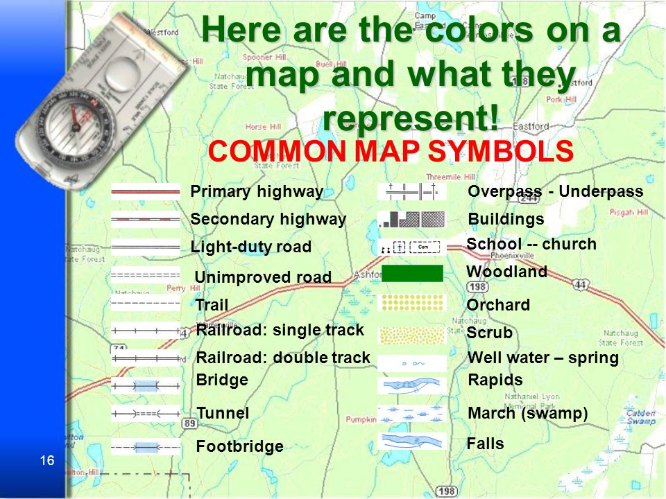 Here are the colors on a map and what they represent!