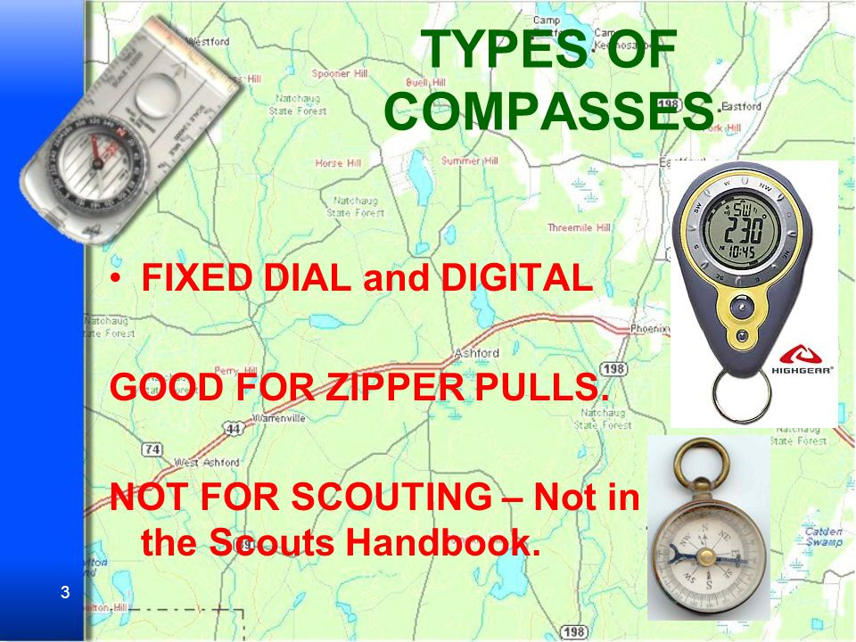 TYPES OF COMPASSES FIXED DIAL and DIGITAL GOOD FOR ZIPPER PULLS.