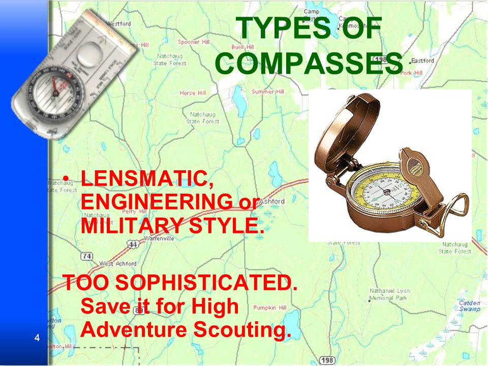 TYPES OF COMPASSES LENSMATIC, ENGINEERING or MILITARY STYLE.