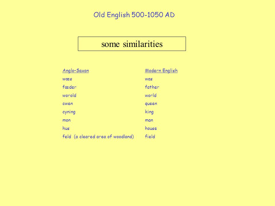 some similarities Old English 500-1050 AD Anglo-Saxon Modern English