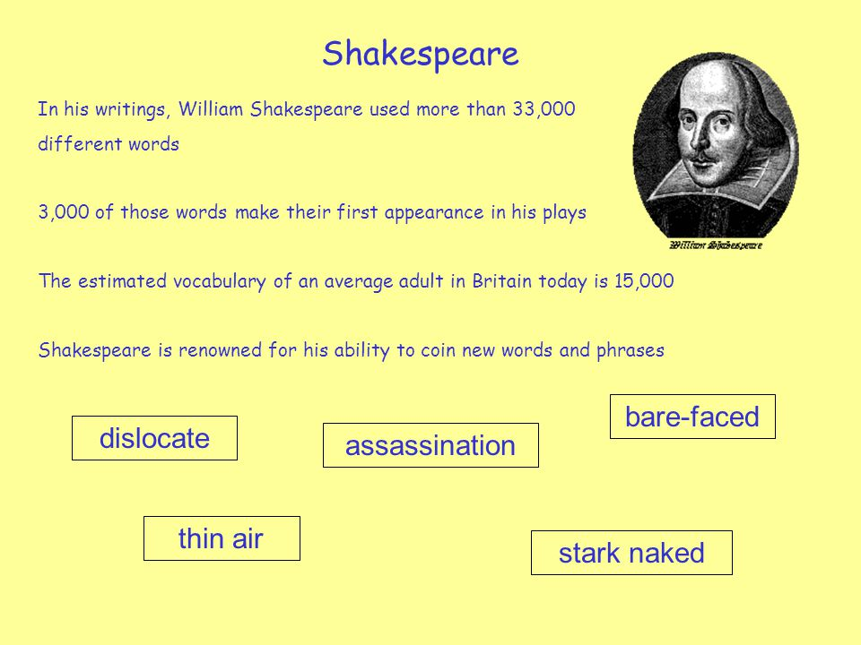 Shakespeare bare-faced dislocate assassination thin air stark naked