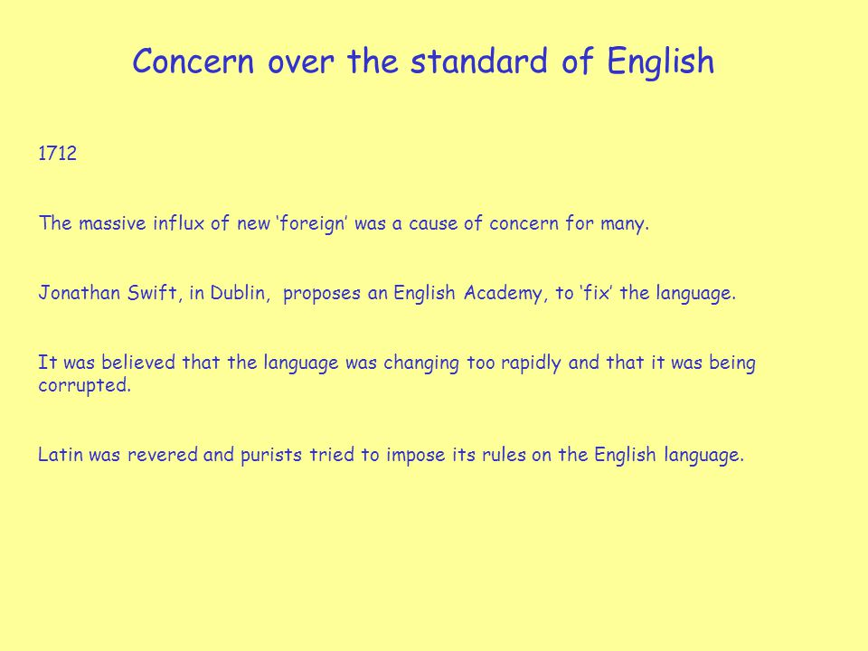 Concern over the standard of English