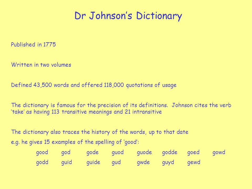 Dr Johnson's Dictionary