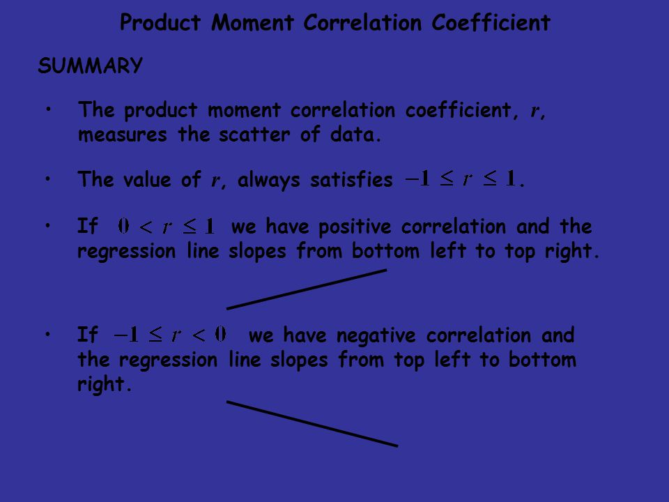 The product moment correlation coefficient, r, measures the scatter of data.