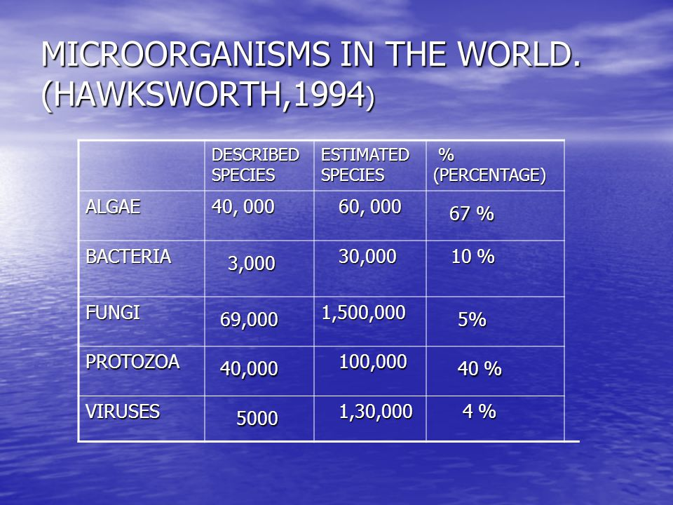 MICROORGANISMS IN THE WORLD. (HAWKSWORTH,1994)
