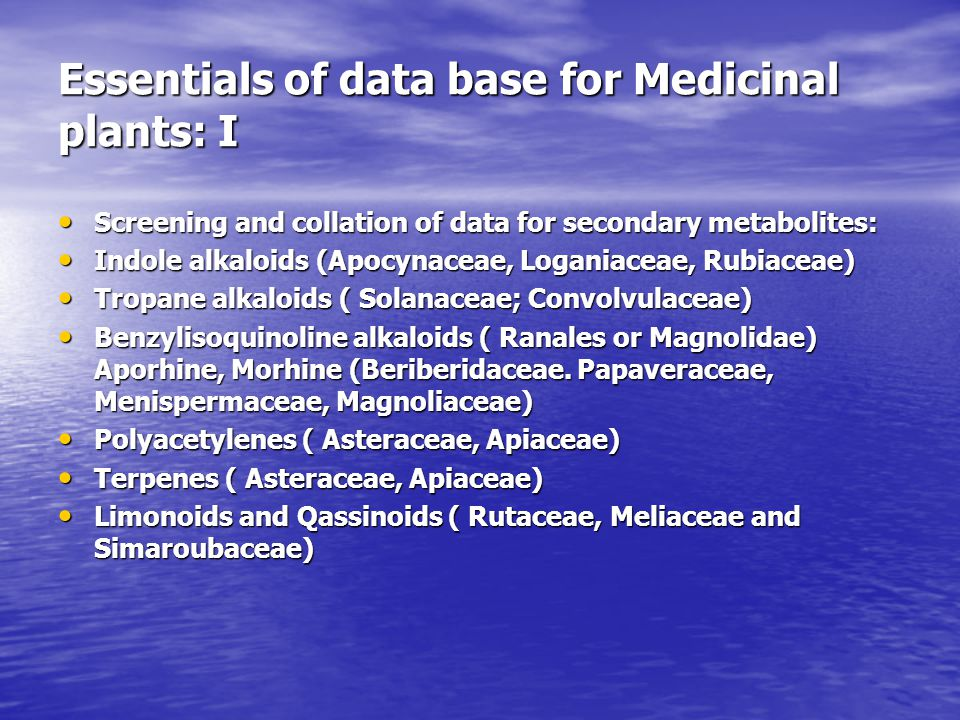 Essentials of data base for Medicinal plants: I