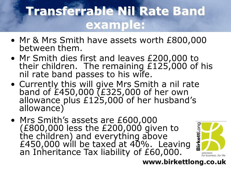 Transferrable Nil Rate Band example: