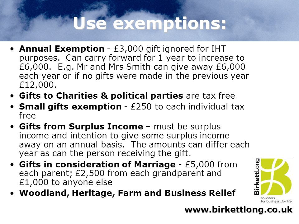 Use exemptions: