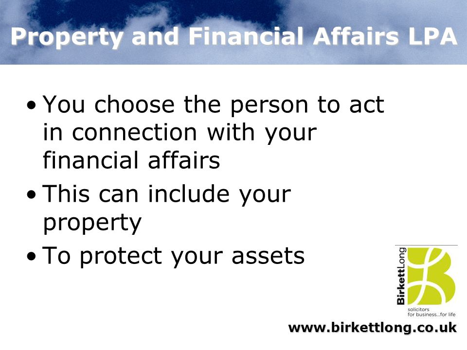 Property and Financial Affairs LPA