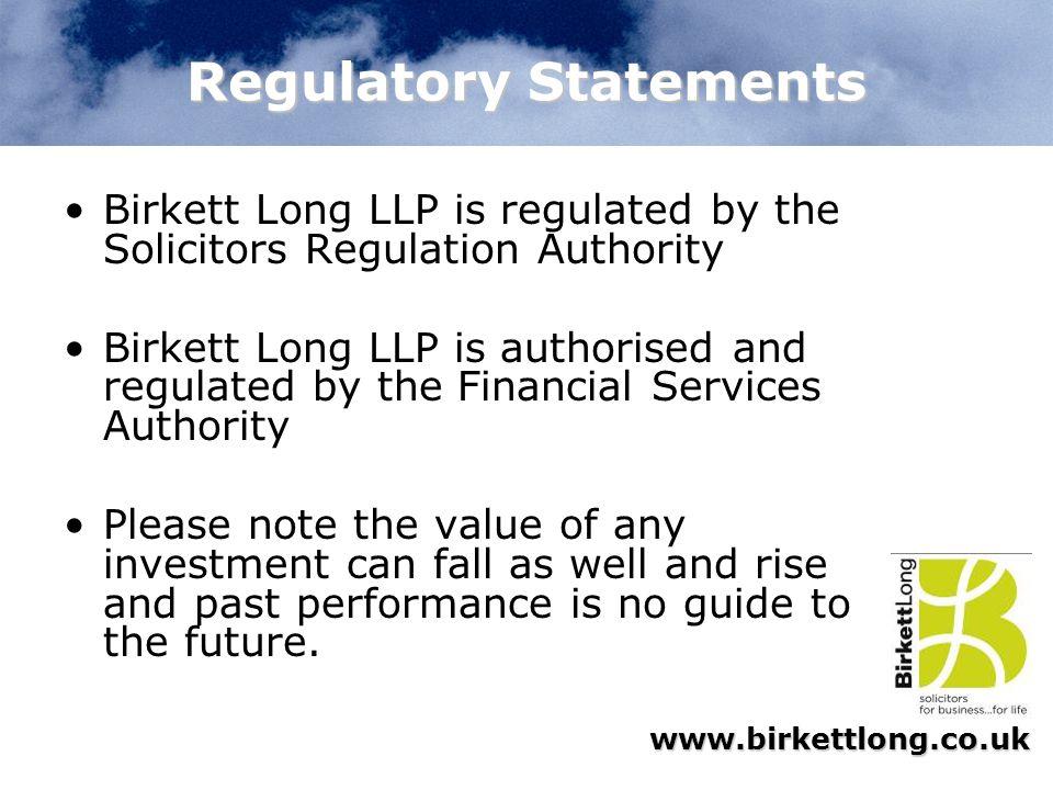 Regulatory Statements