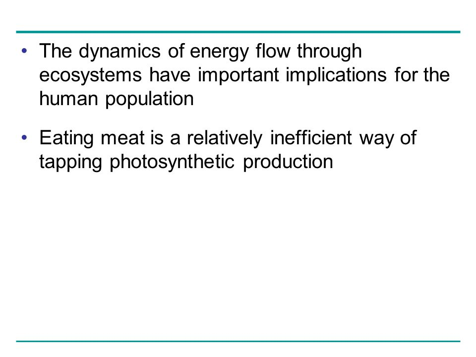 The dynamics of energy flow through ecosystems have important implications for the human population