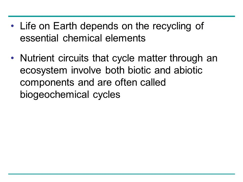 Life on Earth depends on the recycling of essential chemical elements