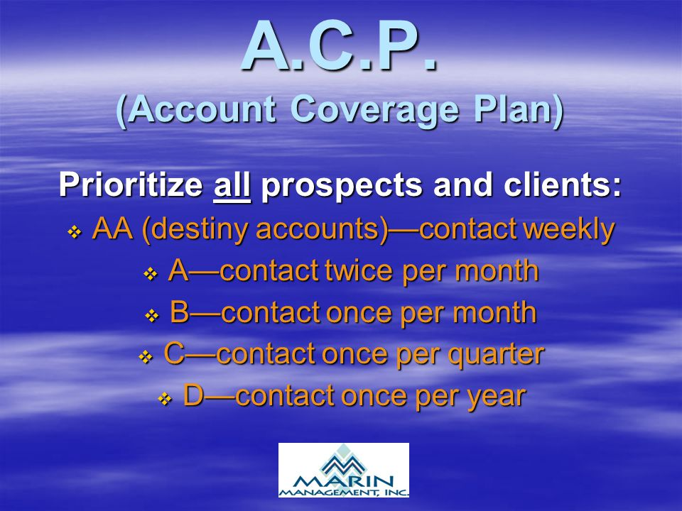 A.C.P. (Account Coverage Plan)