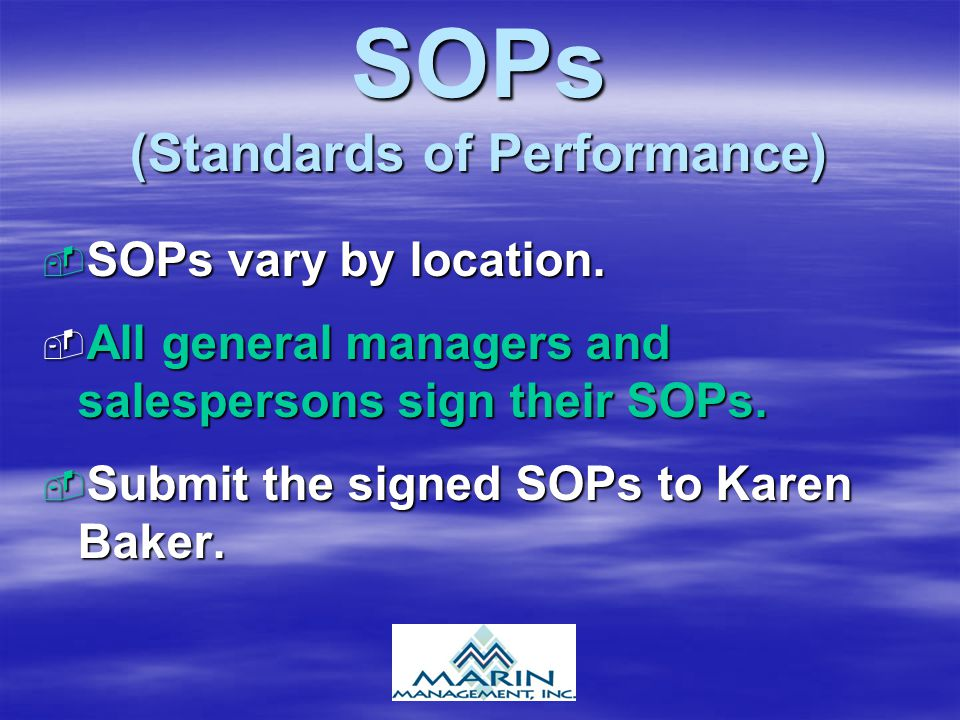 SOPs (Standards of Performance)