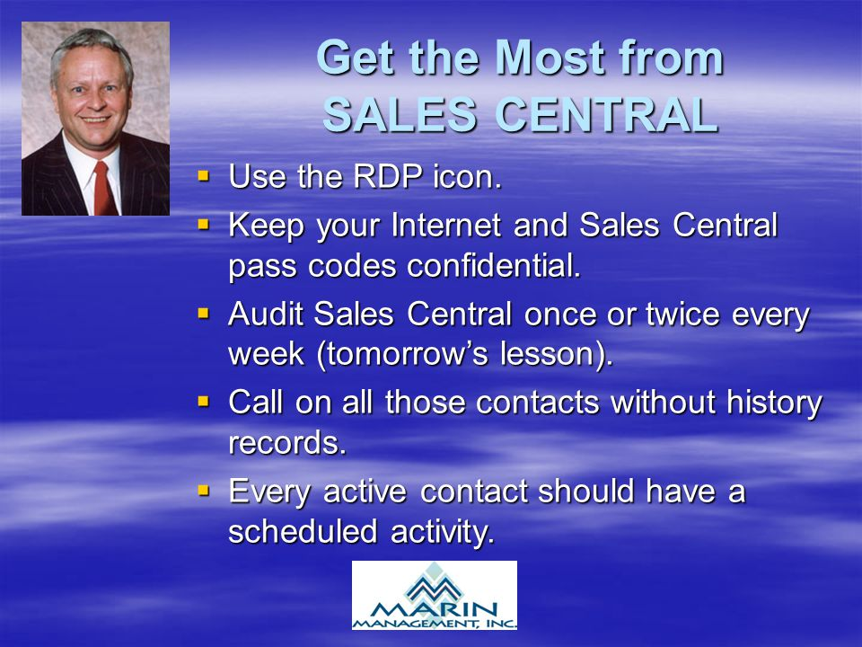 Get the Most from SALES CENTRAL