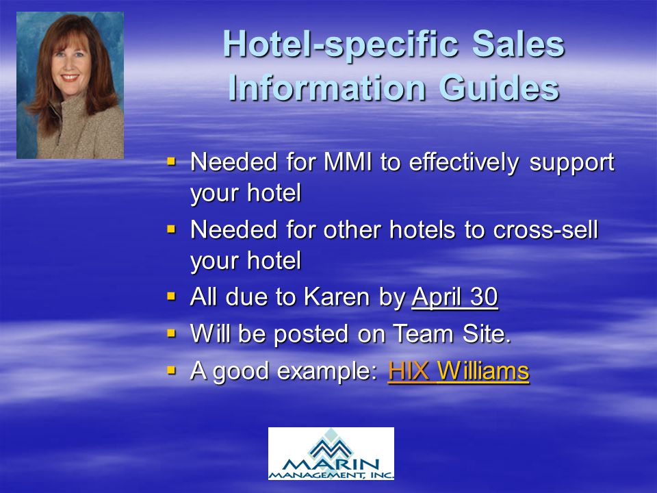 Hotel-specific Sales Information Guides