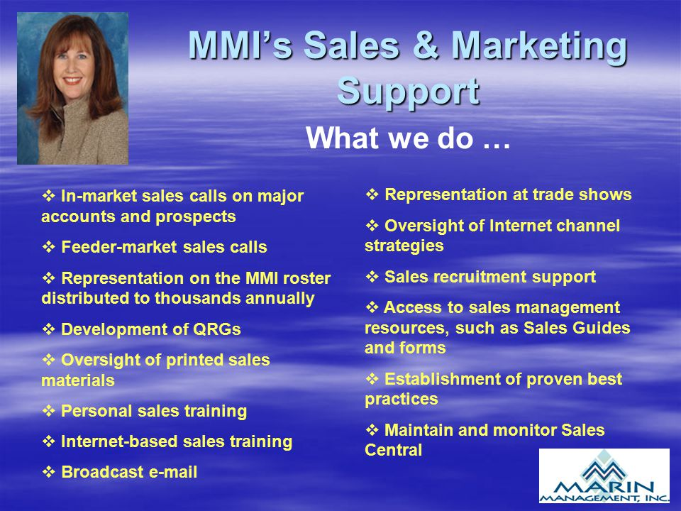 MMI's Sales & Marketing Support