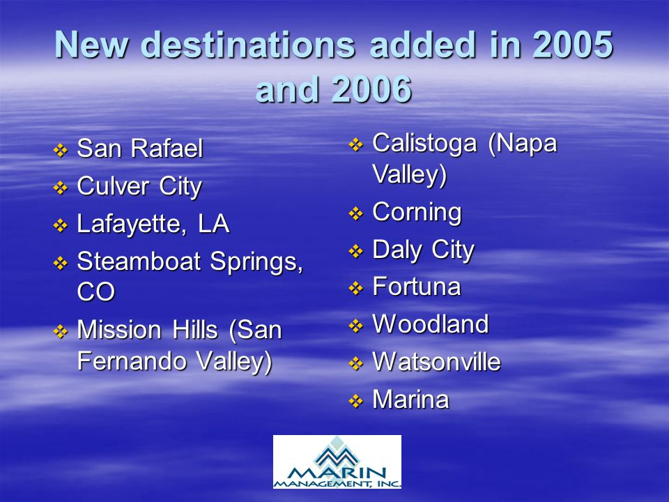 New destinations added in 2005 and 2006