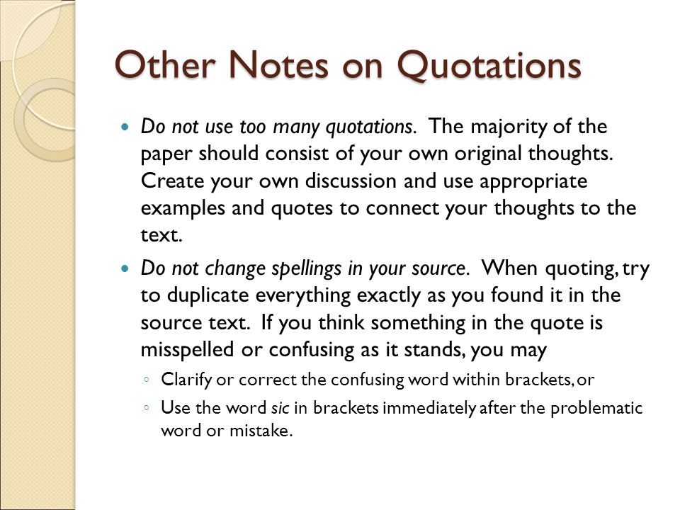 Other Notes on Quotations